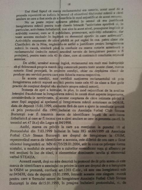 Motivare ICCJ Steaua Bucuresti
